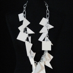 EGGSHELL – white PVC necklace with white lacquered metal links